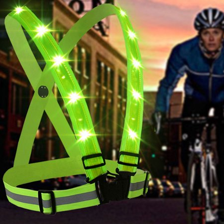 LED Reflective Safety Vest USB Charging Protective Vest for Outdoor Activities Running Cycling Jogging Walking Color:Red