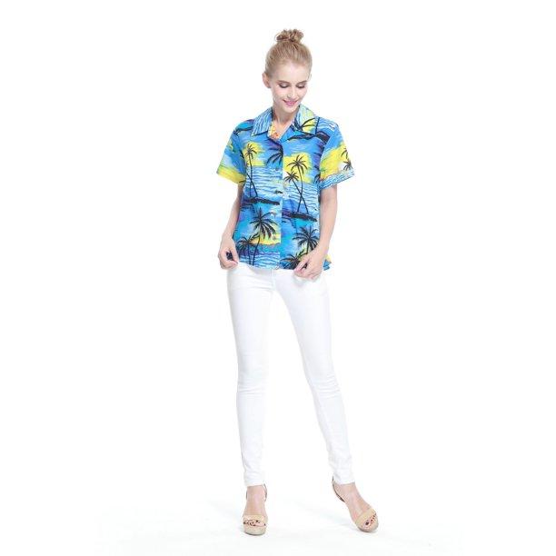 Women's Hawaiian Aloha Shirt in Blue Sunset M