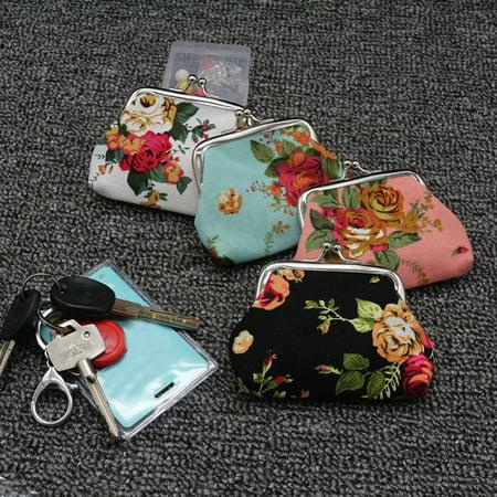 Heepo Women Girls Vintage Rose Flower Small Wallet Hasp Change Coin Purse Clutch Bag