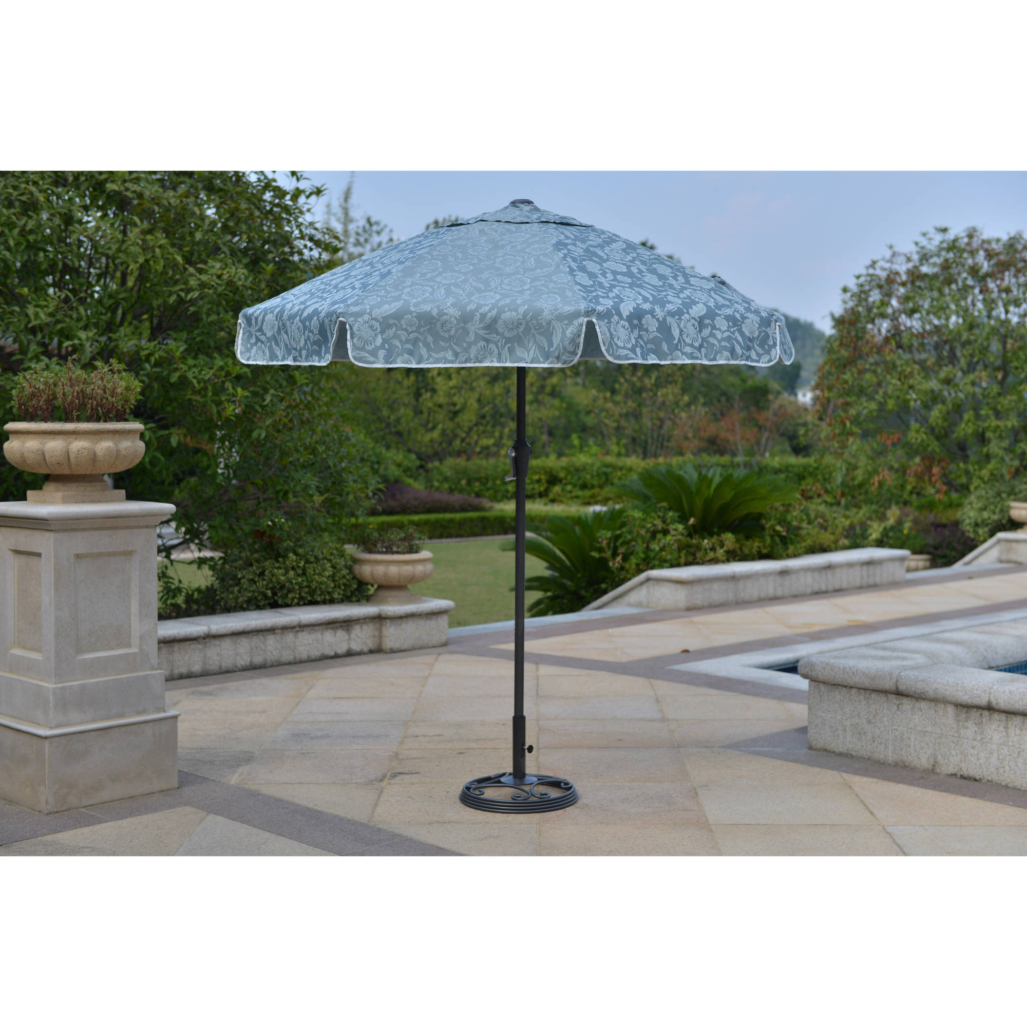 New willow springs 7 feet garden umbrella blue patio for Lawn chair with umbrella