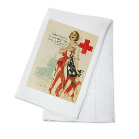 Red Cross  Vintage Poster (artist: Fisher, Harrison C.) USA c. 1918 (100% Cotton Kitchen Towel)