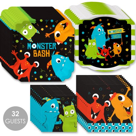 Monster Bash (Monster Bash - Little Monster Birthday Party or Baby Shower Tableware Plates and Napkins - Bundle for)