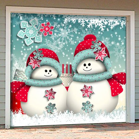 The holiday aisle christmas snowmen and gifts garage door for Christmas garage door mural
