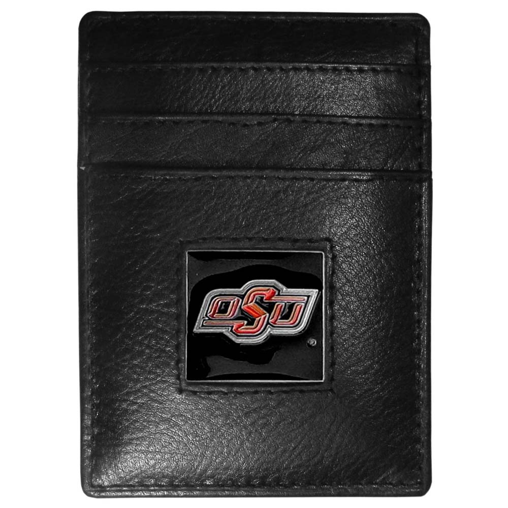Oklahoma State Cowboys Leather Money Clip/Cardholder Packaged in Gift Box (F)