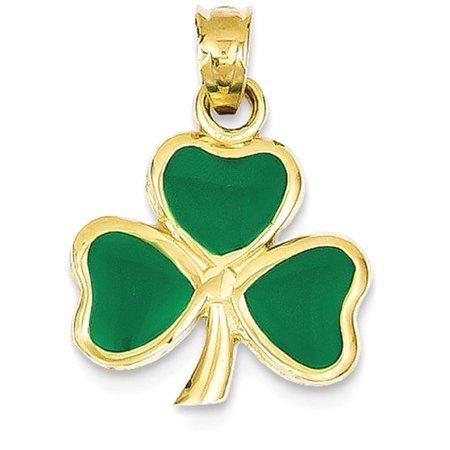 Icecarats 14k Yellow Gold Enameled 3 Leaf Clover Pendant Charm