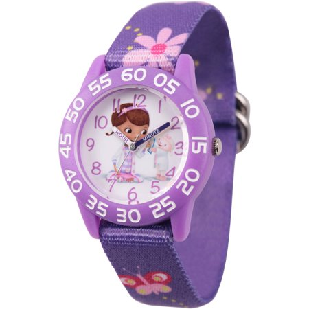 Doc Mcstuffins and Lambie Girls' Purple Plastic Time Teacher Watch, Printed Purple Nylon Strap