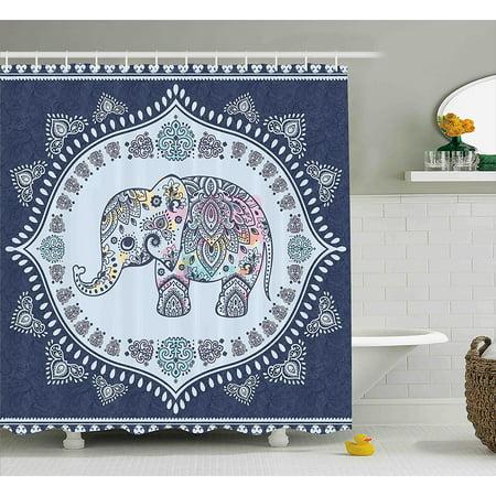 Indian Shower Curtain By Bohemian Elephant Figure With Gypsy Embellishments Spiritual Oriental Figures Graphic Fabric Bathroom Decor Set