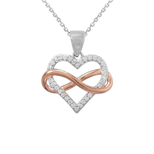 Two Tone Heart Lock Key .925 Sterling Silver pendant
