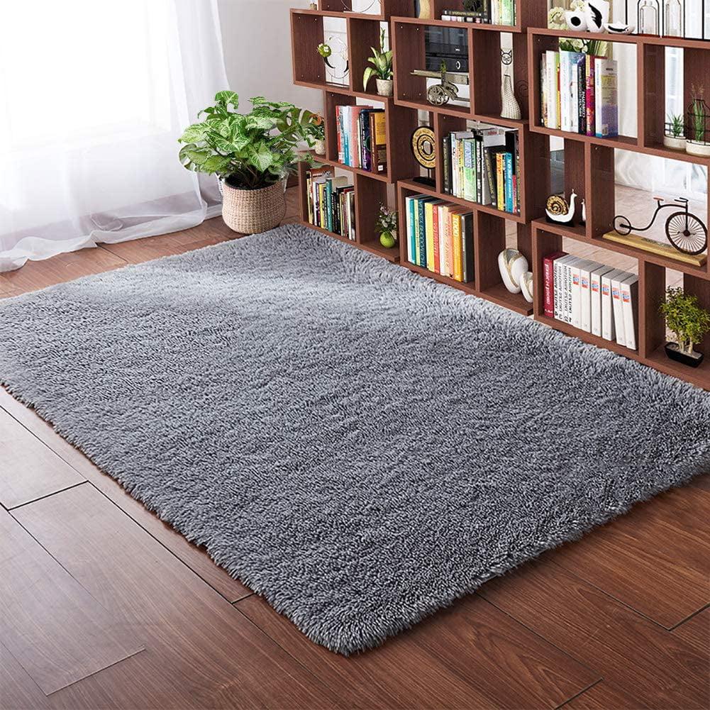 Soft Area Rugs for Bedroom 11 x 11.11 Feet Grey Shaggy Floor Carpet Cute Rug  for Living Room Girls Room Nursery Home Decor