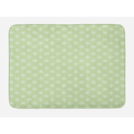 - Floral Bath Mat, Spring Flowers Design on Oblique Axis with Green Background Artwork, Non-Slip Plush Mat Bathroom Kitchen Laundry Room Decor, 29.5 X 17.5 Inches, Pale Fern Green and White, Ambesonne