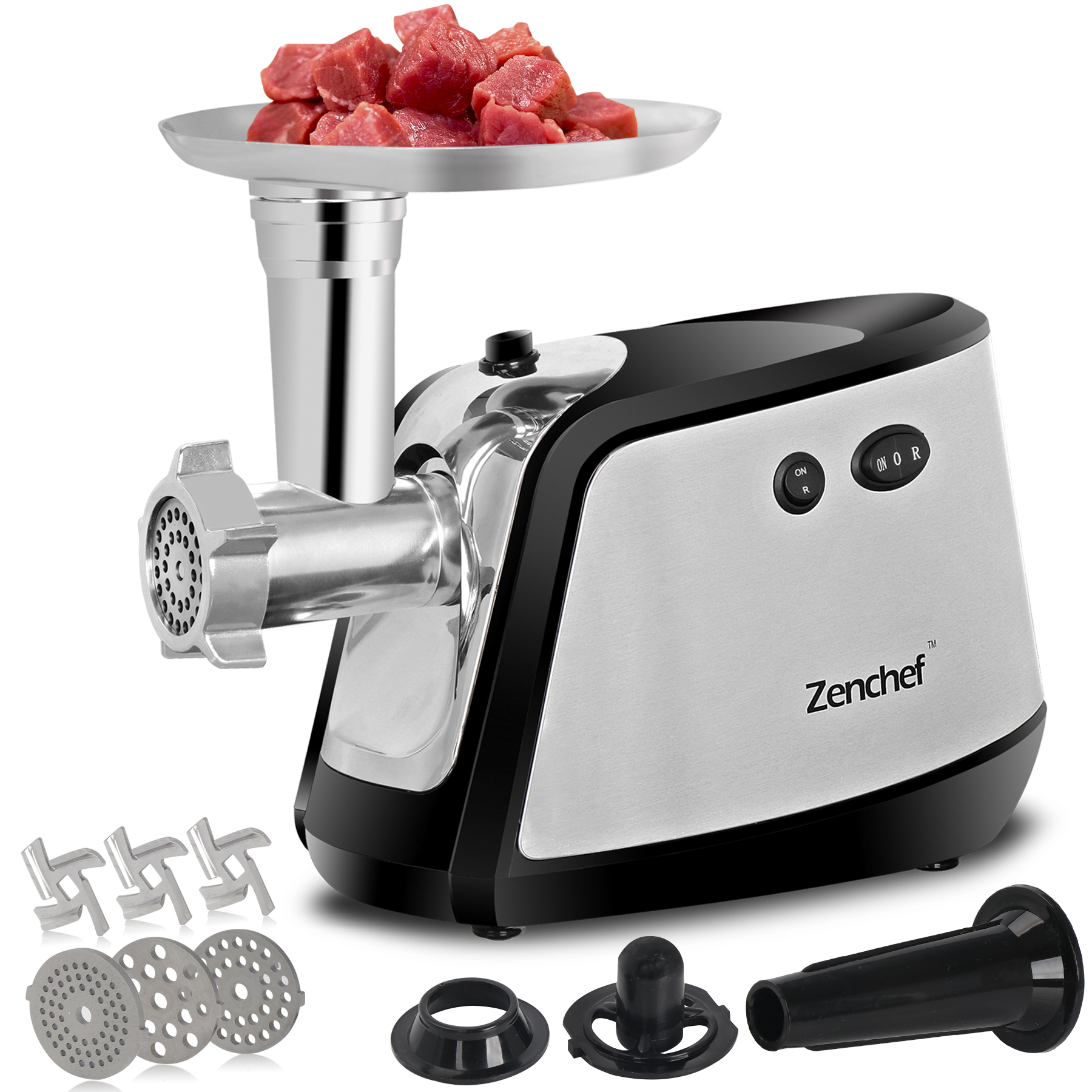 Zeny 1000W Electric Meat Grinder Sausage Stuffer Meat Mincer - 3 Stainless Steel Grinding Plates and Sausage Stuffing Tubes for Home Use &Commercial