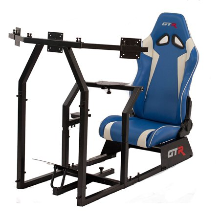 GTR Racing Simulator GTAF-BLK-S105LBLWHT - GTA-F Model (Black) Triple or Single Monitor Stand with Blue/White Adjustable Leatherette Seat, Racing Simulator Cockpit gaming chair Single Monitor