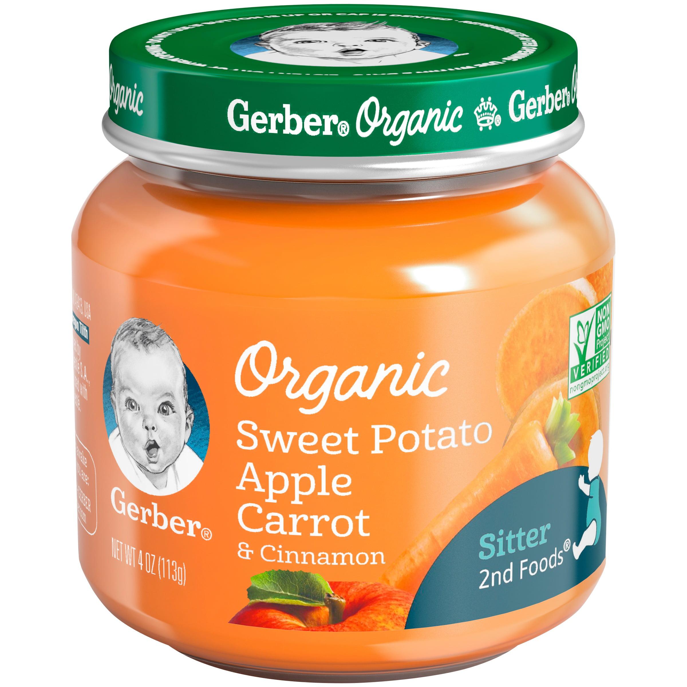 Gerber Organic 2nd Foods Sweet Potato Apple Carrot & Cinnamon Baby Food, 4 oz. Glass Jar (Pack of 6)