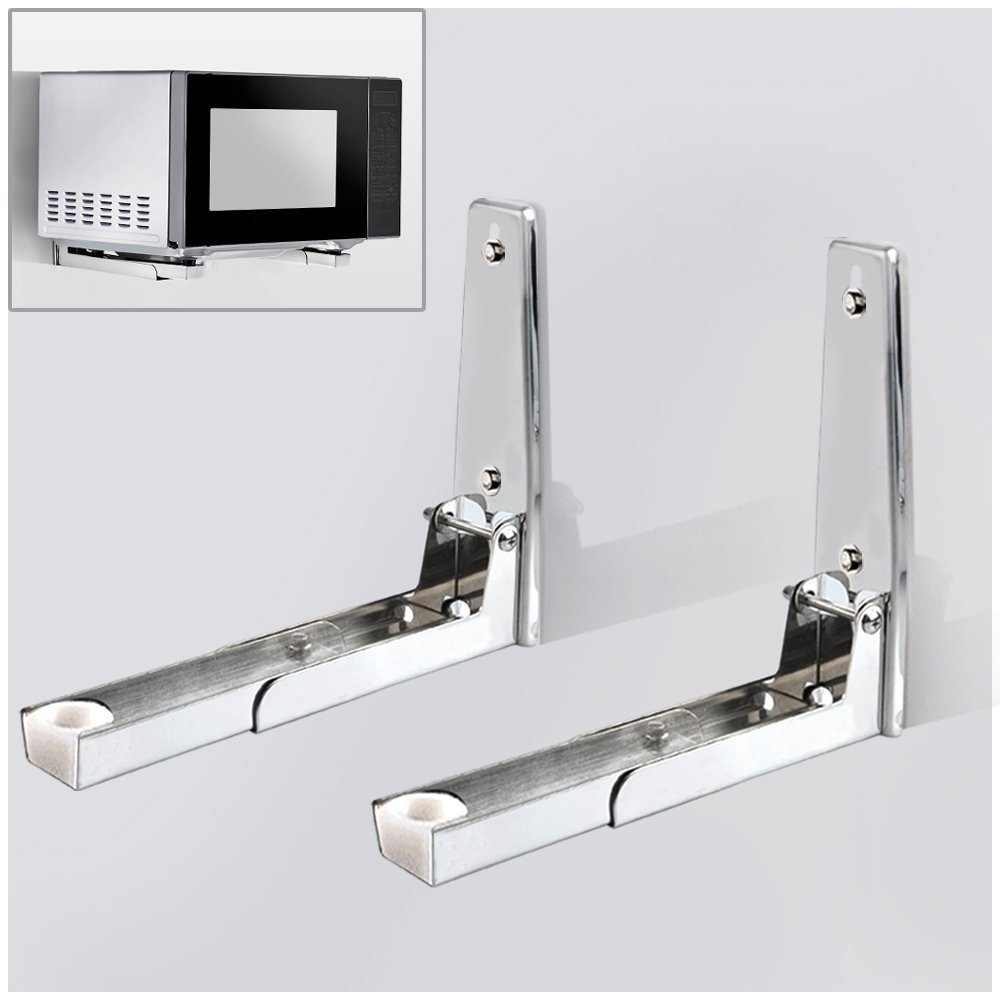 304 Stainless Steel Microwave Oven Wall Mount Bracket,Retractable Microwave Wall Stand Shelf Rack by