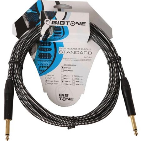 Bibtone BG2-20 Standard Fabric Guitar Cable, 6.1 m - 20 ft. Black & White