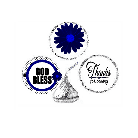 216ct Navy God Bless Religious Baptism Communion Party Favor Hersheys Kisses Candy Decoration Stickers / Labels - Baptism Accessories