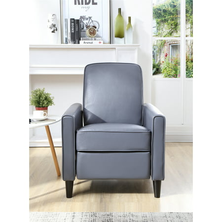 Push Back Faux Leather Recliner, Gray - Small Leather Recliners