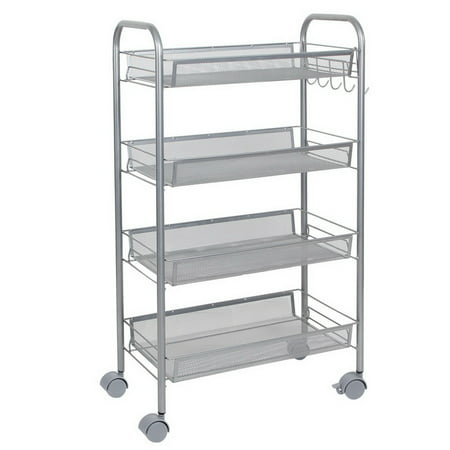 4 Tier Wire Shelving Unit for Home, Organizers and Storage Shoe Rack, Space Save Laundry Cart with Removable cart, Perfect for Kitchen Home Accessories Office, Laundry Detergent, 66lbs, S13712 (Save Items In Cart)