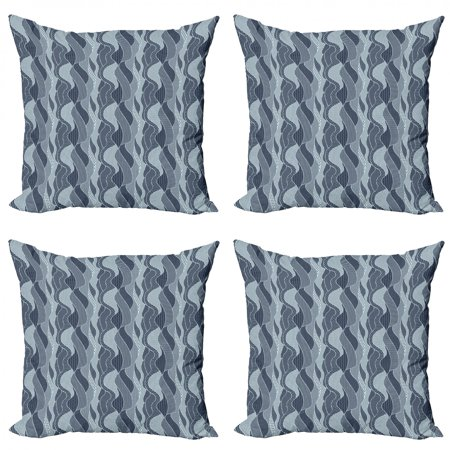 Abstract Throw Pillow Cushion Case Pack of 4, Wavy Pattern with Circles Curves Dots and Hexagons Swirl Arrangement, Modern Accent Double-Sided Print, 4 Sizes, Dark Blue and Baby Blue, by Ambesonne