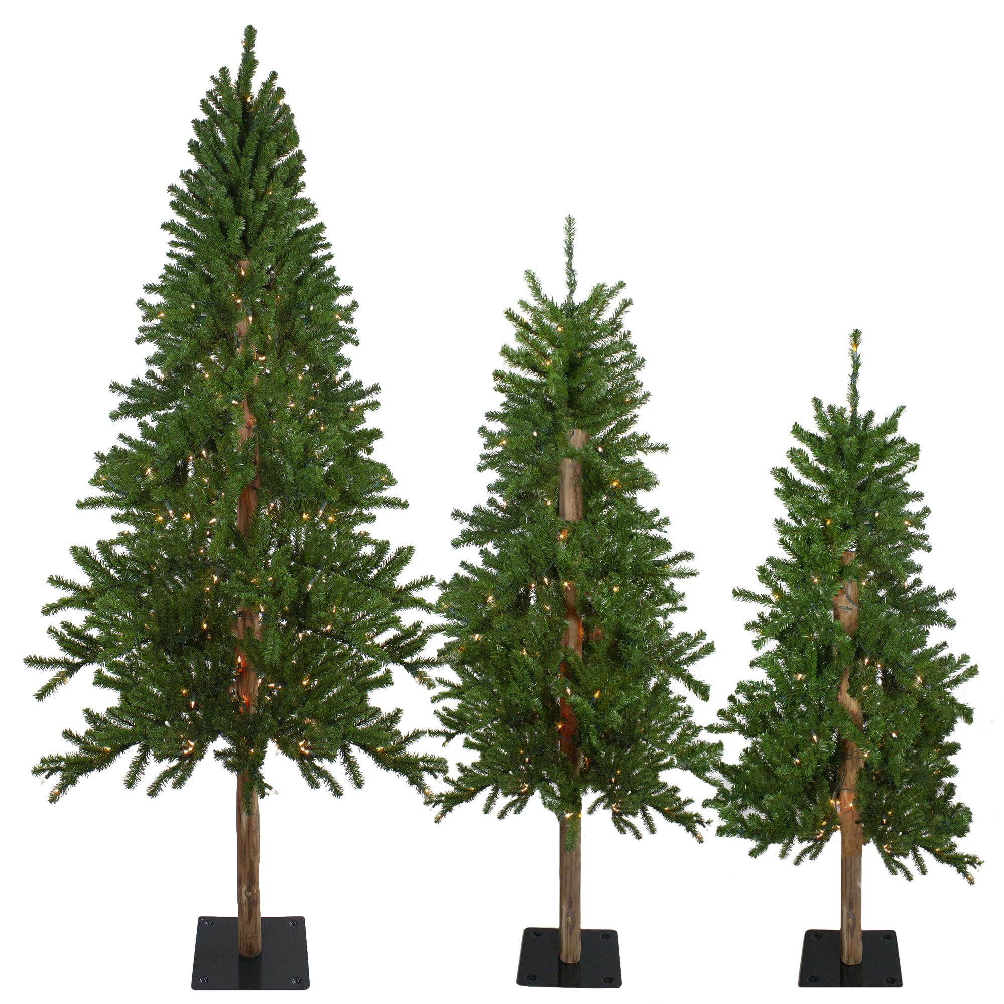 Set of 3 Pre-Lit Alpine Artificial Christmas Trees 4', 5 ...