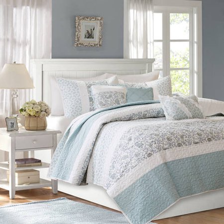 Home Essence Stella Premium Cotton Percale Quilted Full/Queen Coverlet Set ()