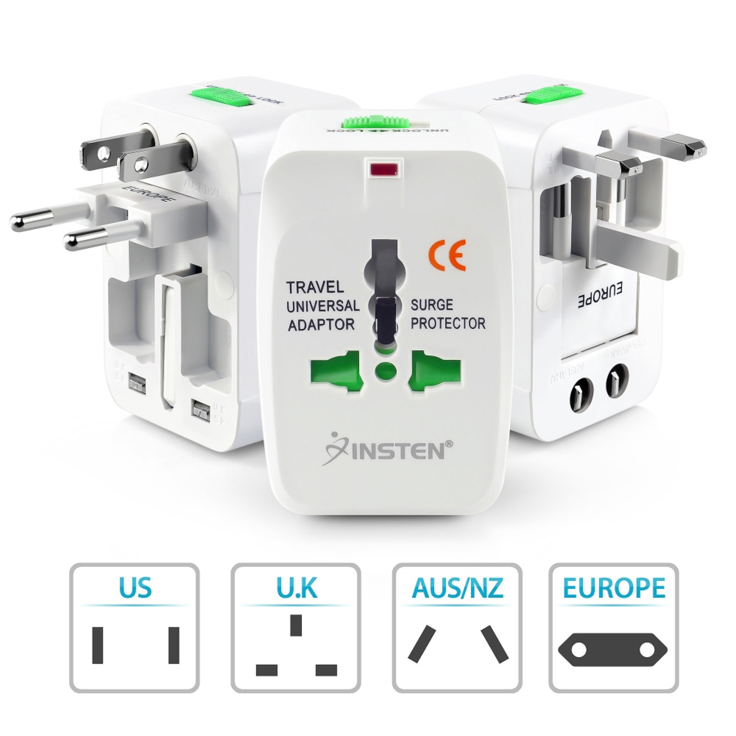 Insten 2 Pack Universal Travel AC Plug Power Charger Adapter For US UK EU AU Worldwide International