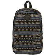 Girls Black Royal Blue Jacquard Weave Tribal Printed Backpack