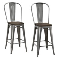 DHP Luxor Metal Bar Stool with Wood Seat, Set of 2, Multiple Sizes and Colors