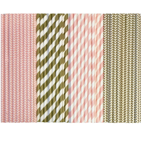Bulk Pink and Gold Stripe and Chevron Paper Straws  300 Pack