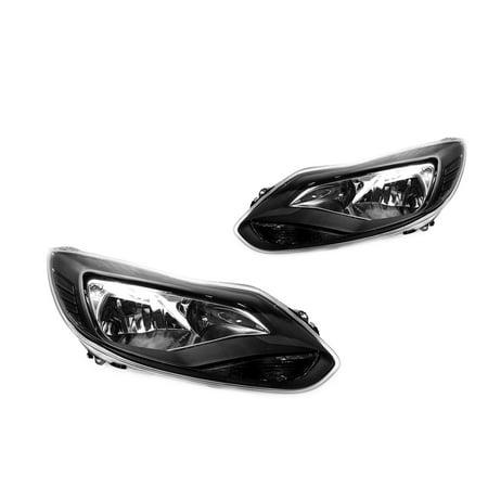12-14 Ford Focus Sedan/Hatchback Black Headlights - Smoke Reflector Smoke