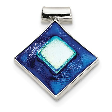 Mireval Sterling Silver Blue Dichroic Glass Square Shaped Pendant (approximately 30 x 27 mm)