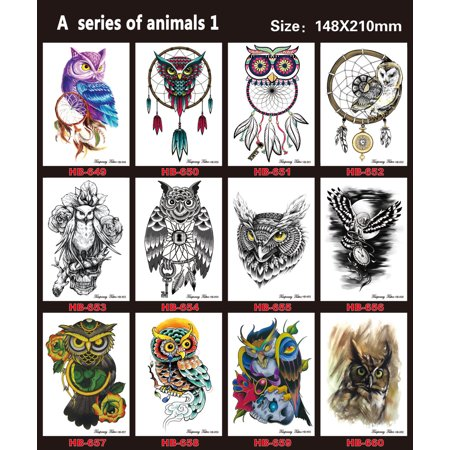12 Sheets Temporary Tattoos Style Arm Transfer Art Tattoo Stickers Waterproof Animal Style