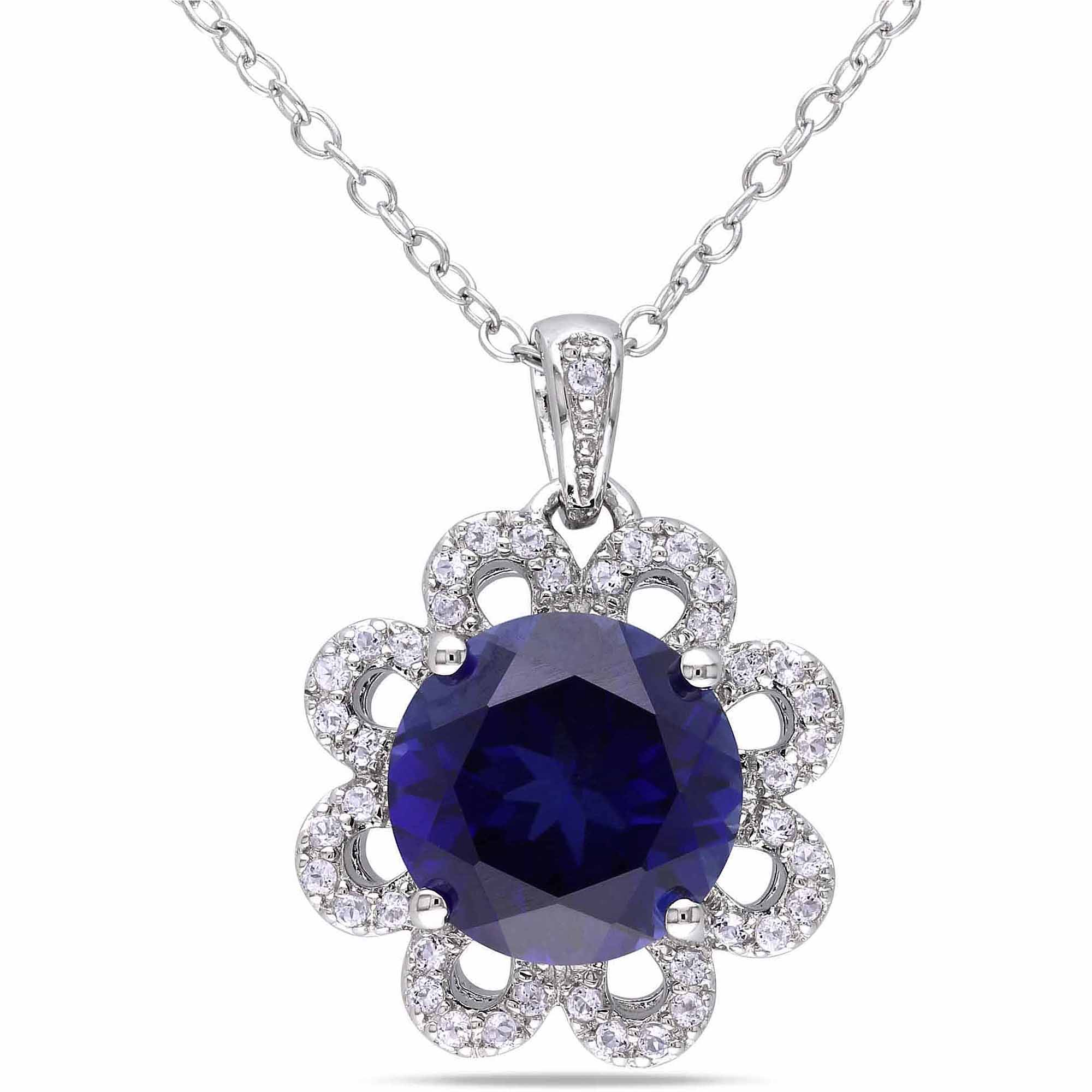 4-7/8 Carat T.G.W Created Blue Sapphire and White Topaz Sterling Silver Flower Pendant