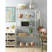 30''D x 14''D x 60''H 5-Tier Wire Shelving Unit Storage Organizer Height Adjustable Commercial Grade Heavy Duty Utility Metal Rack for Garage Office kitchen on Wheels