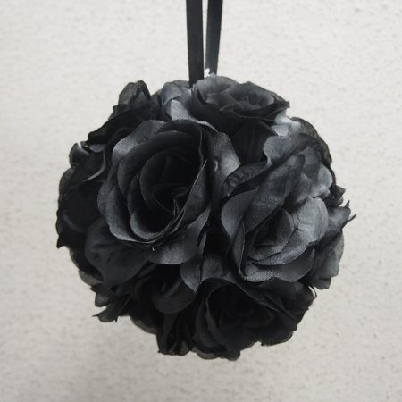 Silk Flower Kissing Balls Wedding Centerpiece, 6-Inch, Black