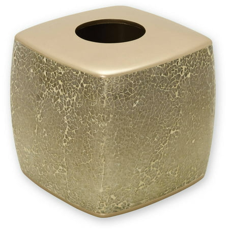 Zenna Home India Ink Huntington Tissue Box Cover, Gold Cracked Glass