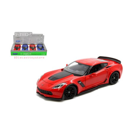 WELLY 1:24 DISPLAY - 2017 CHEVROLET CORVETTE Z06 (BLUE, RED) SET OF 2 WITHOUT RETAIL BOX 24085-4D