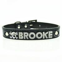 Personalized 10MM 5 Pcs Alphabet Reflective Leather Bling Rhinestone Pet Puppy Collar - Black XS