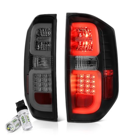 VIPMOTOZ Premium LED Smoke Lens Tail Light Lamp Assembly For 2014-2019 Toyota Tundra Pickup Truck (Pickup Truck Tail Light Lamp)