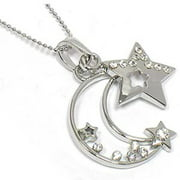 """Celestial Crystal Crescent Moon and Star Charm Pendant on 18"""" Silver Tone Snake Necklace"""