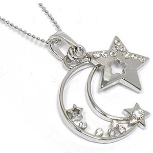 Celestial Crystal Crescent Moon and Star Charm Pendant on 18