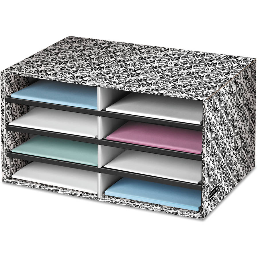 Bankers Box Decorative Eight Compartment Literature Sorter, Letter, White/Black Brocade