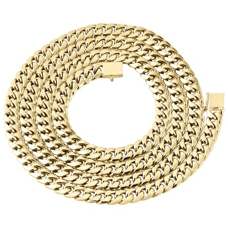 10K Yellow Gold Semi Hollow Miami Cuban Chain Box Clasp 6mm Necklace 34 -
