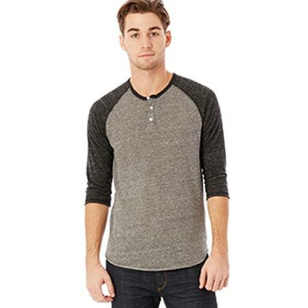 Mens Eco Jersey 3 4 Sleeve Raglan Henley   Eco Grey  Black   Xs