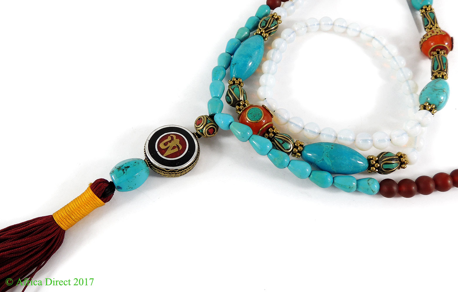 Tibetan Prayer Beads Necklace Baby Moon Turquoise 47 Inch by