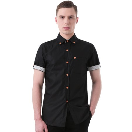 Unique Bargains Men's Casual Buttoned Pocket Short Sleeves Stitching Shirts