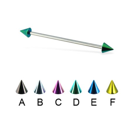 "Colored Cone Long Barbell (Industrial Barbell), 14 Ga,1 7/8"" (48Mm) Long,Green - D"