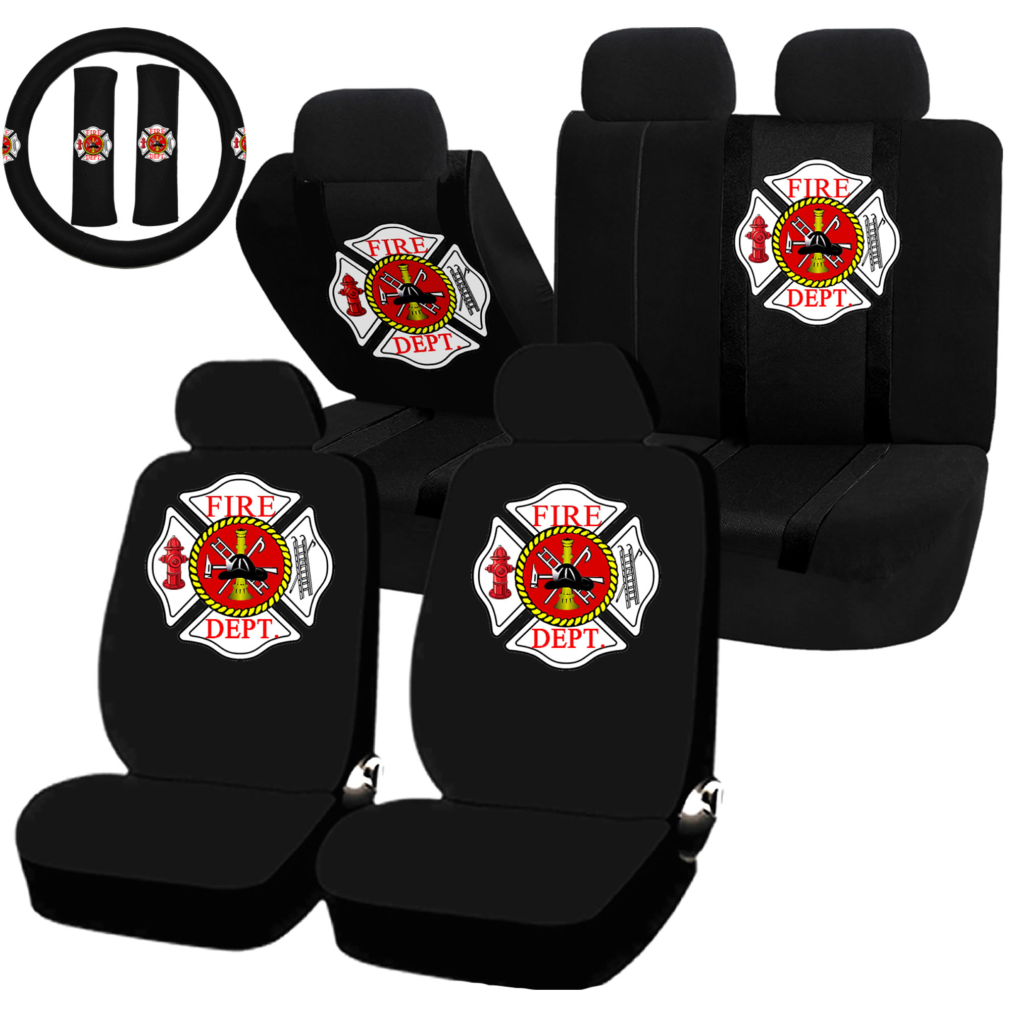 Fire Department Fire Fighter Seat Covers & Steering Wheel Set Universal Car Truck SUV