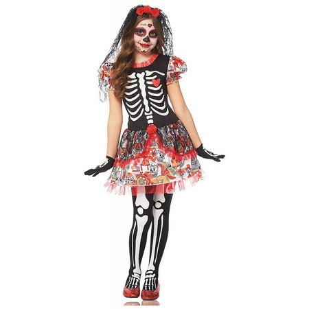 Day of the Dead Girl Child Costume - Large (Day Of The Dead Costume Kids)