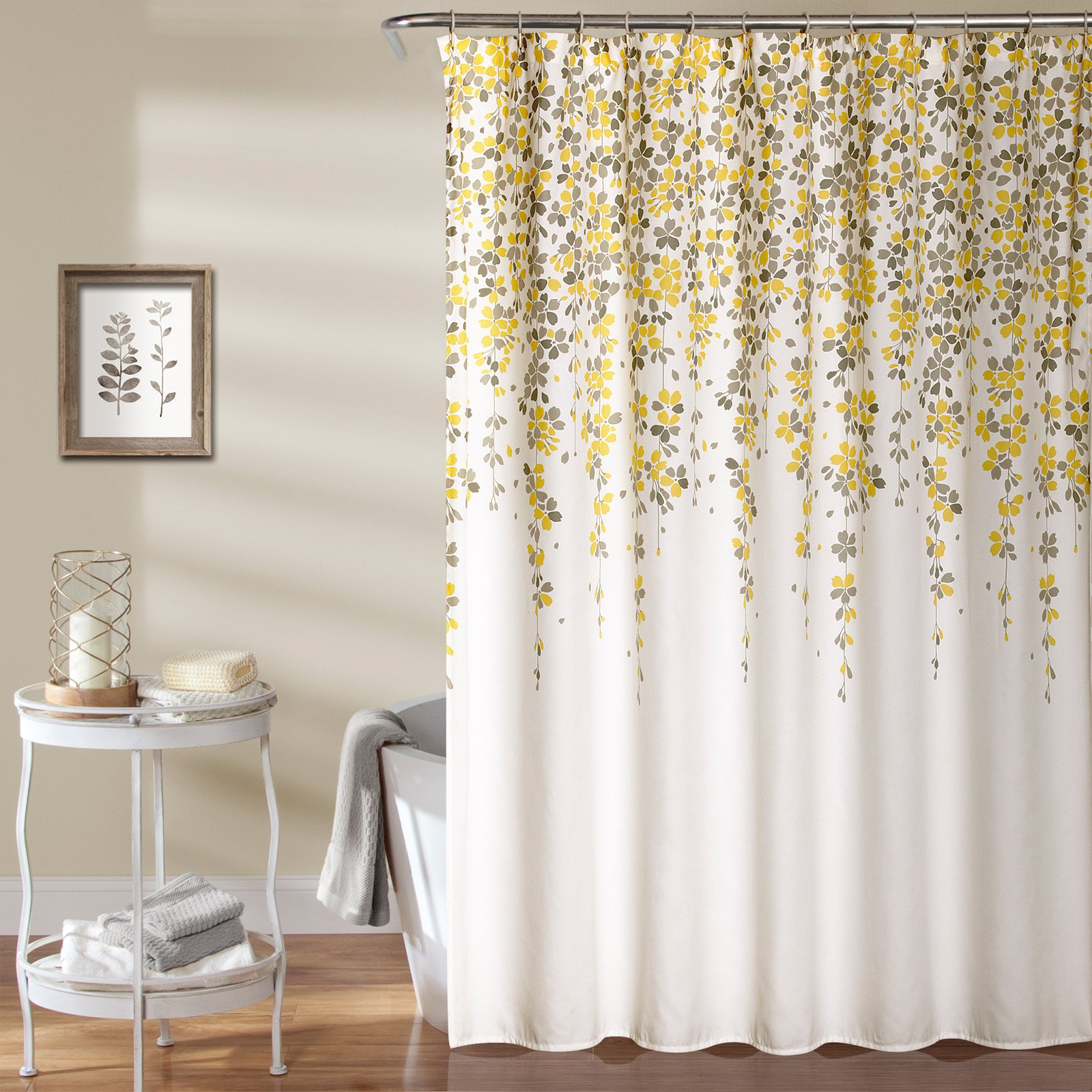 Weeping Flower Shower Curtain Yellow Gray by Generic